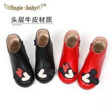 女童黑qk皮靴马丁靴nz0冬季头层牛皮加绒宝宝棉鞋(小)公主宝宝短靴