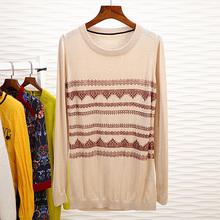 2包邮qk5216克pl秋季女装新品超美印花蕾丝~26.2%羊毛针织衫2284