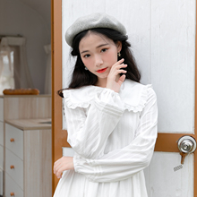 蝴蝶结qm衣裙法式初bo搭森系少女棉约会白色秋装新式中长