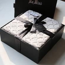 礼品毛毯礼盒装送礼双的纯色铺垫qm12法兰绒bo盖毯沙发毯子