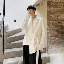 秋季不qn则设计感外wc黑系带(小)西装男装宽松西服短式(小)众潮牌