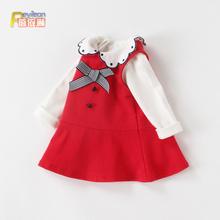 女童宝qo公主裙子春vt0-3岁春装婴儿洋气背带连衣裙两件套装1