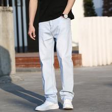 夏季薄qo男士浅色牛fb式直筒大码弹性白色牛子裤宽松休闲长裤