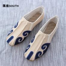 云南手工qq1麻鞋男祥5m筋底软底懒的鞋透气中国风一脚蹬布鞋