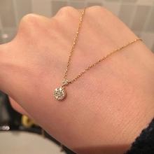 日本Vqqndomebayama圆形  女18K黄金纯银水滴锁骨链 气质