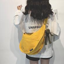 帆布大qq包女包新式ba0大容量单肩斜挎包女纯色百搭ins休闲布袋