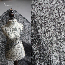 创意黑白色肌理网纱蕾丝设qq9师面料 ba装连衣裙礼服布料