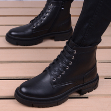 马丁靴qq高帮冬季工ba搭韩款潮流靴子中帮男鞋英伦尖头皮靴子