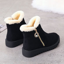 短靴女qq020冬季ba尔西靴平底防滑保暖厚底妈妈鞋侧拉链裸靴子