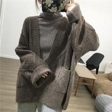 细米定qq  秋冬新ba宽松含羊绒菱形加厚毛衣针织开衫外套