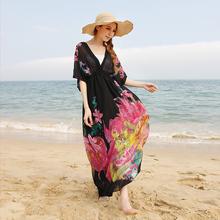 墨莎波qq米亚肥mmba松海边度假沙滩裙加肥大码雪纺连衣裙长裙