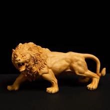 男士黄杨木文玩崖柏根雕狮子雕qq11工艺品ba雕红木手把玩件