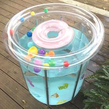 新生婴qq游泳池加厚ba气透明支架游泳桶(小)孩子家用沐浴洗澡桶