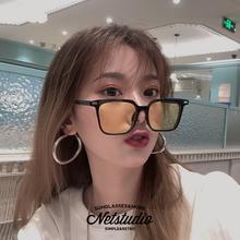 NETqqStudiba方形彩色透明式式方框装饰墨镜(小)脸网红港风太阳镜