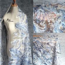 渐变羽qq0钻石网纱ba片布料刺绣镂空蕾丝透明服装设计师面料