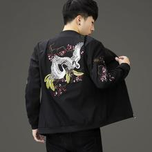 霸气夹qr青年韩款修qm领休闲外套非主流个性刺绣拉风式上衣服