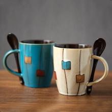 创意陶qs杯复古个性cj克杯情侣简约杯子咖啡杯家用水杯带盖勺