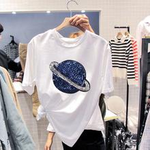 白色tqs春秋女装纯cj短袖夏季打底衫2020年新式宽松大码ins潮