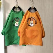 宝宝画qs防水罩衣长cj童幼儿园绘画衣长袖围裙可印字定制logo