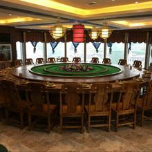 中式榆qs实木餐桌电cj桌3-5米火锅桌椅家用农庄圆形饭桌椅凳