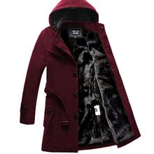 冬季加绒加厚中长式风qs7男士韩款cj毛呢大衣英伦青年外套潮