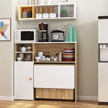 简约现qs(小)户型可移cj餐桌边柜组合碗柜微波炉柜简易吃饭桌子