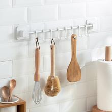 厨房挂qu挂钩挂杆免an物架壁挂式筷子勺子铲子锅铲厨具收纳架