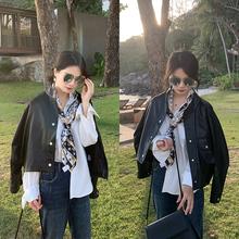 彬gequ表姐202ta新式韩款黑色(小)皮衣女帅气机车外套