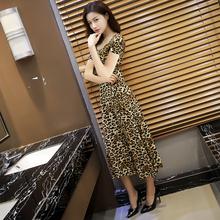 女士豹qu长式连衣裙ta款紧身圆领短袖气质显瘦大摆裙打底长裙