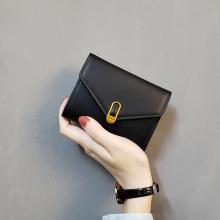insqu式loveta古2020短式女士折叠(小)钱包多卡位钱夹搭扣皮包