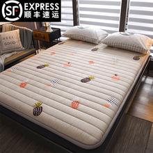 全棉粗qu加厚打地铺ta用防滑地铺睡垫可折叠单双的榻榻米