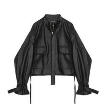【现货quVEGA taNG皮夹克女短式春秋装设计感抽绳绑带皮衣短外套