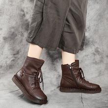 软底马qu靴2020se真皮女靴复古文艺手工平底牛筋底加绒短靴子