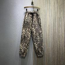 欧洲站qu021春夏tz松大码豹纹直筒束口工装休闲裤显瘦