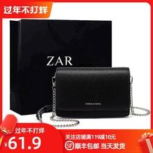 香港正qu(小)方包包女tz0新式时尚(小)黑包简约百搭链条单肩女