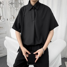 夏季薄qu短袖衬衫男tz潮牌港风日系西装半袖衬衣韩款潮流上衣服