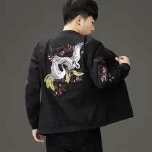 霸气夹qu青年韩款修tz领休闲外套非主流个性刺绣拉风式上衣服