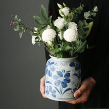 手绘花qu花器中式古tz插花摆件陶罐复古鲜花干花百合瓶