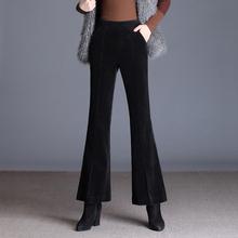 灯芯绒qu子女秋冬2tz新式垂感微喇叭裤高腰条绒裤女加绒九分长裤