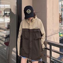 WASquUP18拼ng衣新式国潮连帽夹克衬衫秋冬男女外套 加厚外套