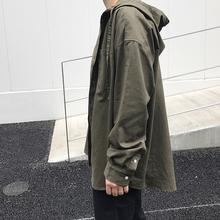 方寸先qu春季新式衬ng宽松纯色oversize薄式上衣衬衫连帽外套