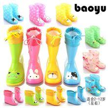 宝宝雨鞋qu1童胶鞋(小)ng童(小)孩水鞋防滑套鞋宝宝雨靴秋冬加绒