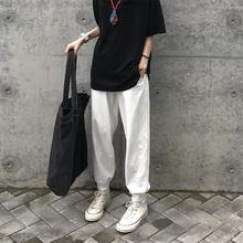 Sevqun4leeng奶白色运动裤女春夏黑色束脚卫裤宽松百搭休闲裤潮
