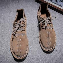 中国风qu鞋春季磨砂dq士手工缝休闲男鞋系带软底复古牛皮鞋