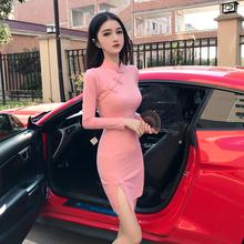 气质长qu旗袍年轻式en民族少女复古优雅性感包臀改良款连衣裙