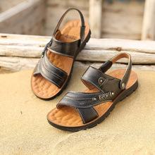 201qu男鞋夏天凉en式鞋真皮男士牛皮沙滩鞋休闲露趾运动黄棕色