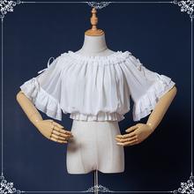 咿哟咪qu创lolien搭短袖可爱蝴蝶结蕾丝一字领洛丽塔内搭雪纺衫