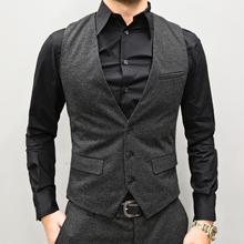 型男会qu 春装男式en甲 男装修身马甲条纹马夹背心男M87-2