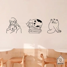 柒页 qu星的 可爱en笔画宠物店铺宝宝房间布置装饰墙上贴纸