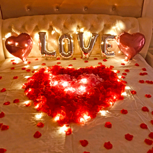 结婚求qu表白周年纪ng的节惊喜创意浪漫气球婚房场景布置装饰